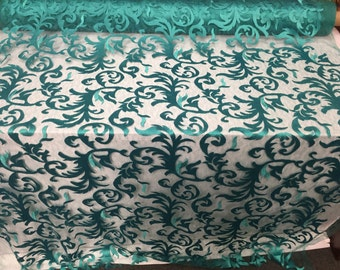 Teal green flaming leaf design-embroider on a mesh lace fabric-wedding-bridal-prom-nightgown-sold by the yard-