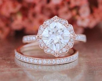 Vintage Floral Forever One Moissanite Engagement Ring Bridal Set and Milgrain Diamond Wedding Band in 14k Rose Gold 8x8mm Cushion Ring Set