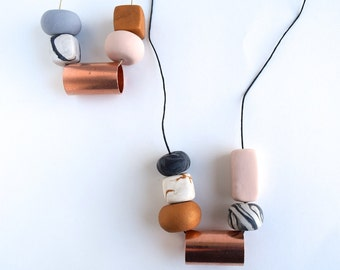 Large Clay Bead + Copper Statement Necklace