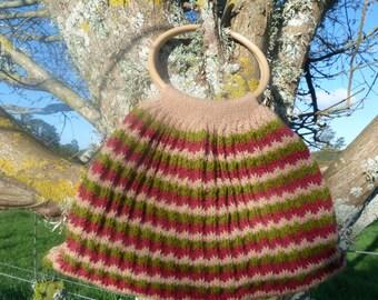 Wool bag, Kiwi made, handmade patterned wool bag