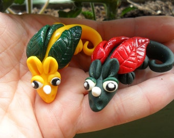 SALE- Polymer Clay Dragon Totem - Fairy Garden Miniature -  Dragon Fairy Pet - CUSTOMIZED for You with your own colors