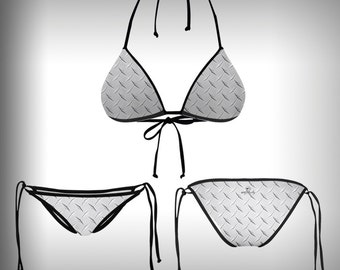 Monkinis™ Custom Full color Bikini - Top and Bottom Diamond Plate