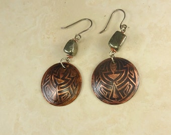 Handmade Etched Copper Dangle Earrings with Silver and Pyrite . Antique Copper Celtic Design Earrings. Copper & Pyrite  Primitive Earrings