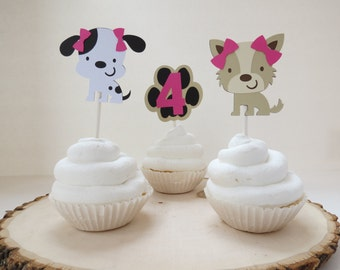 Girl Puppy & Paw Print w/ Age - Cupcake Toppers - Set of 12