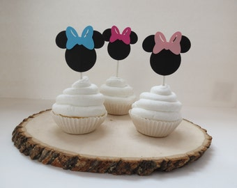 Set of 12 - Minnie Mouse Hot Pink, Pink, and Aqua Blue Cupcake Toppers