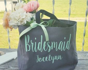 Personalized Bridal Tote Bag, Bridesmaid Tote Bag, Maid of Honor Tote Bag, Monogrammed Tote Bag (BR001)