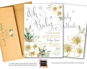 Oh Baby Sip and See Invitation // Snowflake Baby Shower // Winter Baby Shower // Holiday Baby Shower // Silver // Gold // VERMONT COLLECTION