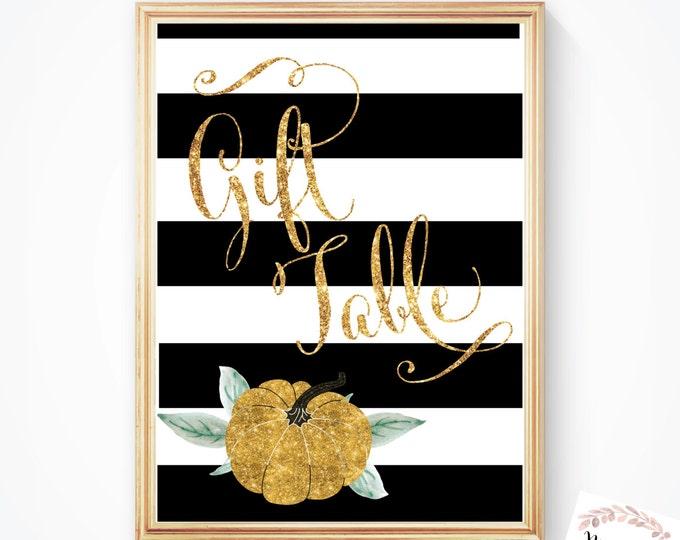 Pumpkin Gift Table Sign // Gold Pumpkin // Pumpkin // Gifts // Baby  Shower // Gold Glitter // Instant Download // STARS HOLLOW COLLECTION