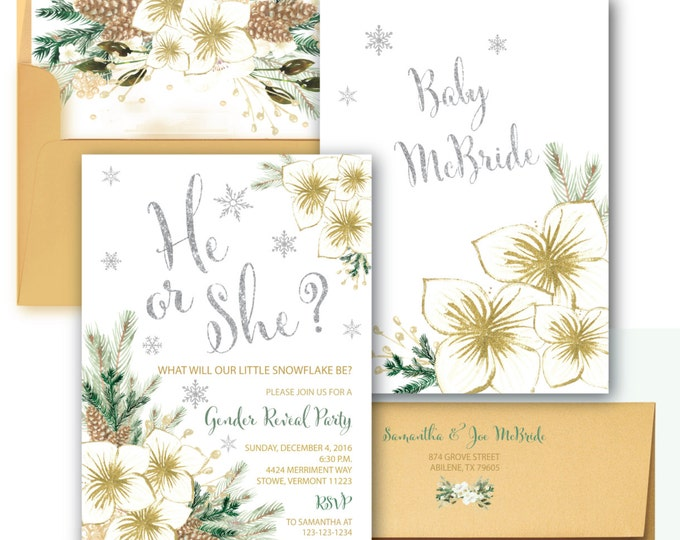 Holiday Gender Reveal Invitation // Snowflake Invitation // Winter Gender Reveal  // He or She // Silver // Watercolor // VERMONT COLLECTION