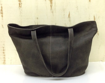 Sale!!! Grey leather tote bag Large leather tote - Wide tote bag Handmade leather bag