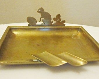 Vintage Brass Squirrel with a Nut Business Card Holder,  Unique Ash Tray