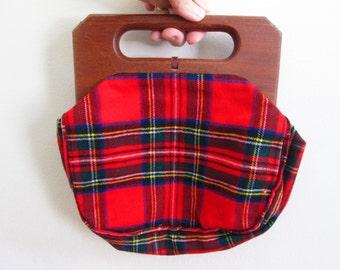 Red Plaid Wool Frame Purse, 80s Preppy Hand Bag, Vintage Bermuda Bag