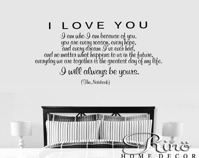 "The Notebook movie quote "" I will always be yours "" Wall Decal romantic bedroom decor vinyl sticker shabby chic romance wedding gift Love"