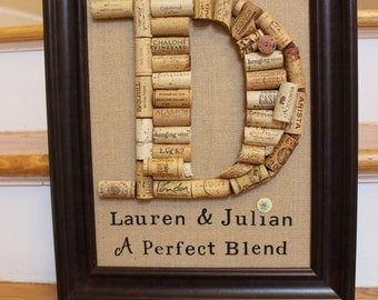wine cork monogram handmade framed personalized cork letter wedding gift housewarming gift hostess gift custom anniversary gift