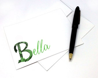 Personalized Note Cards Stationery with Hand Drawn Initial B and Name - Set of 8 Elegant Folded Personalized Cards