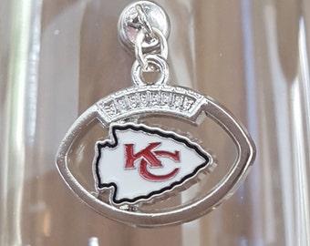 Stemless Wine Charms - Football/Kansas City Chiefs