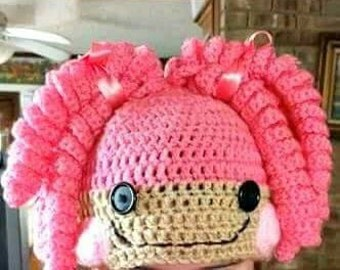 Pigtail hat, lalaloopsy inspired hat, character hat, beanie, crochet hat, custom made hat, doll face hat, costume hat