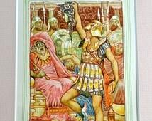 1892 Walter Crane Matted Print, Antique Book Illustration, Engraving Childrens Greek Mythology, Wall Art Print, Art Nouveau Era Wall Decor