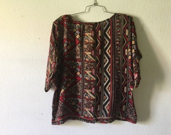 Vintage Blouse - Abstract Modern Print Short Sleeve Top