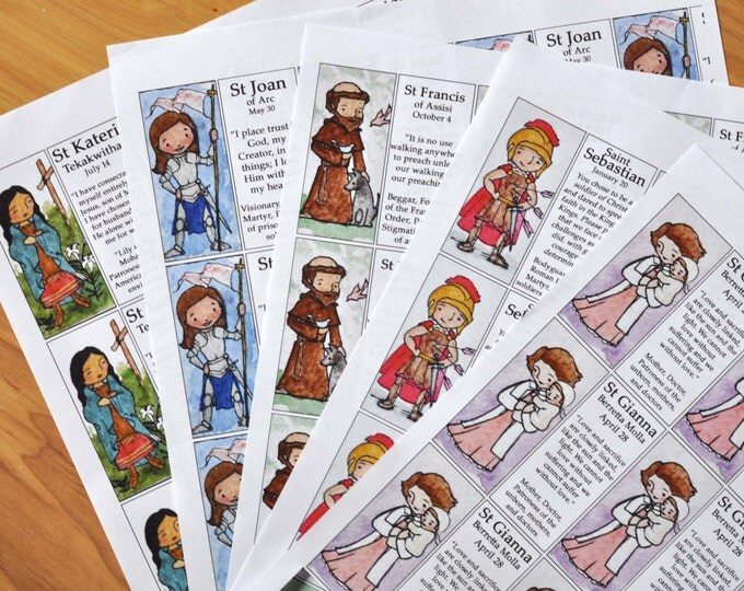 5+ Saint Craft Sheets of your choice (100+ saints to choose from - Mary, Jesus, St Elizabeth, Kateri, Joseph etc)