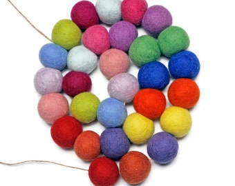 Jumbo Multicoloured 4cm Felt Ball Pom Pom Garland - 3 metres