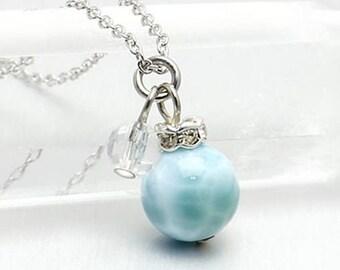 LARIMAR NECKLACE, Larimar Pendant Necklace,Larimar Swarovski Crystal Necklace,Larimar Sterling Silver Necklace,Larimar Jewelry,Ocean Jewelry
