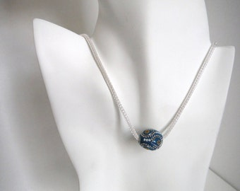 Blue paisley necklace, big bead necklace, chunky bead necklace, thick silver chain...
