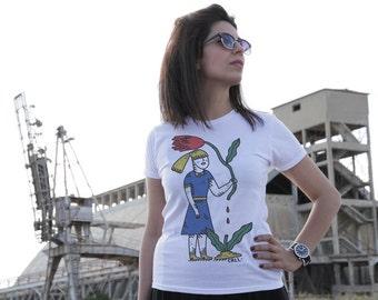 "20% SALE - Illustrated shirt ""The Morbid Girl"""