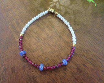 Delicate Garnet, Tanzanite and Pearl Bracelet