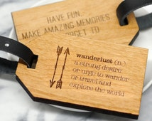 Wanderlust Luggage Tag, Personalised Luggage Tag, Personalized Luggage Tag, Laser Cut Wood, Luggage Tag, Travelling Gift, Travel Quotes