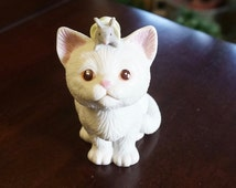 Bisque; Cat Figurine; Approx. 2 x 4 in; Design by Kathy Wise; 1990; Enesco !!!