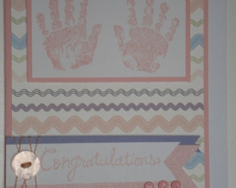 Handmade Card - Baby handprints girl 10109