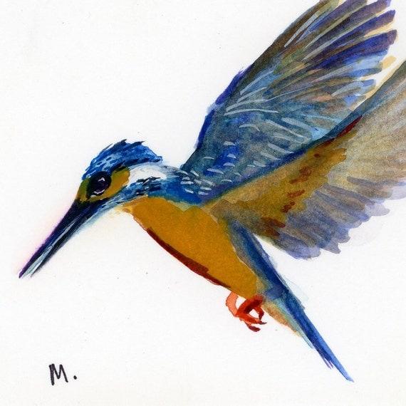 "Common Kingfisher - Watercolor - 4"" x 4 1/2"""