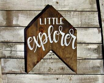 Little Explorer Wood Sign // Woodland Nursery Decor // Adventure Nursery // Arrow Decor // Hand Lettered // Hand Painted