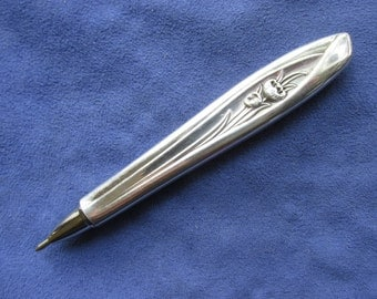 Refillable silverware ink pen handmade from silverplate knife featuring rare Silver Tulip pattern
