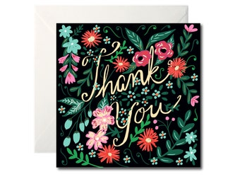 Thank you Card - Midnight florals