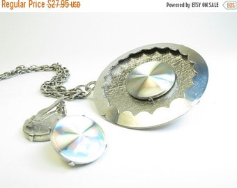 ON SALE Vintage Diffraction Disc Necklace and Earring Demi Parure