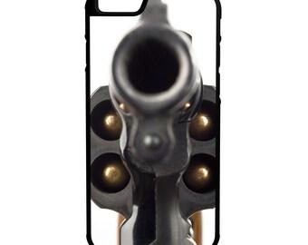 38 Revolver Gun Barrel iPhone Galaxy Note LG HTC Protective Hybrid Rubber Hard Plastic Snap on Case Black