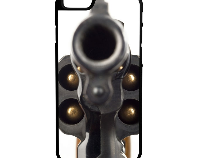 38 Revolver Gun Barrel iPhone Galaxy Note LG HTC Protective Hybrid Rubber Hard Plastic Snap on Case Black