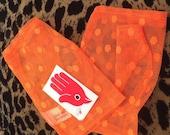 Vintage 80s Lace mesh Fingerless Gloves Polka dot Orange NOS Punk New Wave