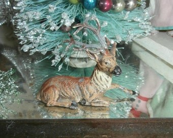 Vintage Christmas putz German lead metal reindeer stag buck deer marked Germany on back