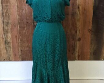 Vintage 80s teal blue floral silk dress