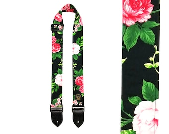 Handmade Guitar Strap - Rose Print Floral - Made in Scotland
