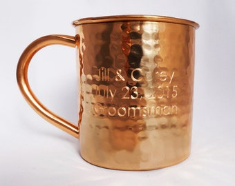 1 hammered copper moscow mule mug engraved with your text or artwork - Moscow Mule Copper Mug