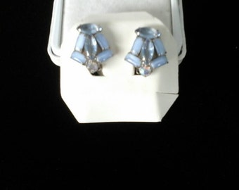 Blue glass and crystal earrings