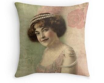Boho Decor, Womens Gift, Retro Decor, Unique Decor, Pink Cushion, Vintage Decor, Shabby Chic Decor, Vintage Throw Pillow, Pink Green Pillow