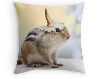 Chipmunk Cushion, Cute Animals, Gardener Gift, Chipmunk Pillow, Funny Animal, Garden Decor, Woodland Animals, Woodland Creatures, Petunias