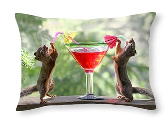 Squirrel Decor, Squirrel Gifts, Funny Gifts, Anniversary Gift, Rectangular Pillow, Funny Birthday Gift, Alcohol Gifts, Squirrel Drinking