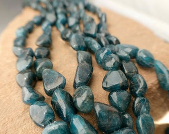 "Teal Apatite Natural Nugget Bean Free Form Beads Natural Pebbles Full 8"" Strand Free Ship AP3T8A0001"