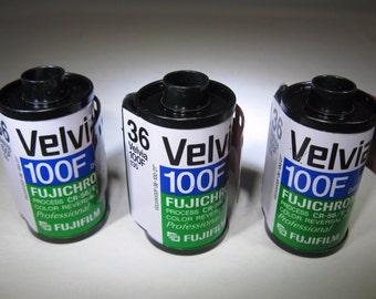 3 Rolls Rare Fujichrome Velvia 100F Film 35mm x 36 Exposure Fujifilm Color Slide
